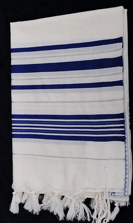 шерсть / синий талит - серебро 110/160