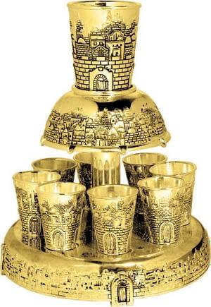 Разделитель для вина Иерусалим 8 чашек, золото