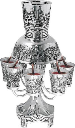 Распределитель для вина Иерусалим 8 бокалов, серебро