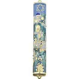 Футляр для мезузы Иерусалим 12 см Бирюзовая