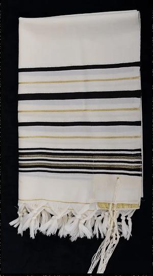 Талит шерстяной / черный - золото 170/220