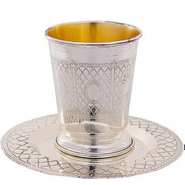 Металлический бокал для кидуша с блюдцем